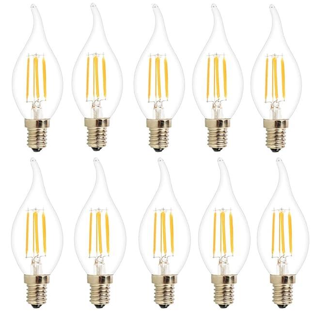 10X E14 Edison LED 4W Filamento LED COB Vela del LED 400LM Bombilla Retro Vintage LED Blanco Cálido 2700K Bombilla de Filamento AC 220V: Amazon.es: ...
