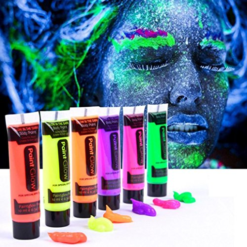 Mchoice 6 Colors Glow In Dark Body Art Paint 10ml UV Glow Face Body Paints