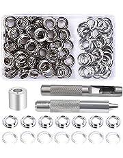 Grommet Kit, 100 Sets 10mm Grommet Eyelets, Metal Grommet Eyelets Kit, Tarpaulin Repair Kit met 3 Grommet Setting Tool voor Tarpaulin, Fabric, Gordijnen en Craft Making en Tassen