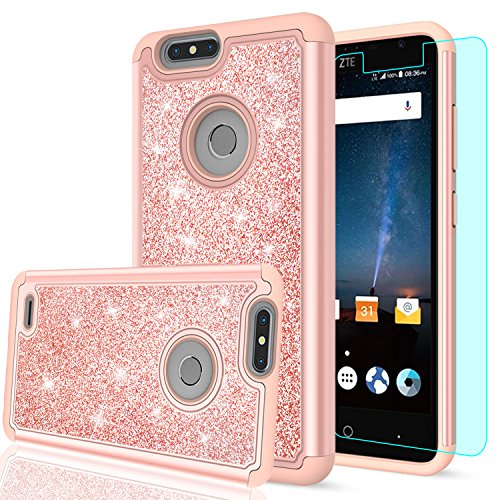 ZTE Blade Z Max Case, ZTE Blade Zmax Pro 2 Case, ZTE Sequoia Glitter Case with HD Screen Protector,LeYi Bling Cute Girls Women Heavy Duty Protective Phone Case for ZTE Z982 TP Rose Gold
