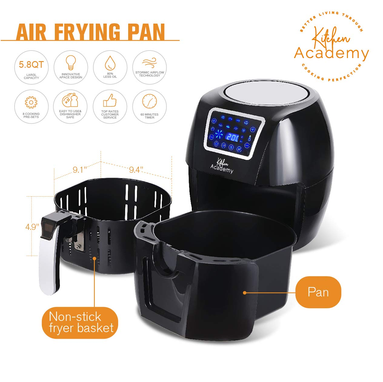 Kitchen Academy: Sản Phẩm Kitchen Academy Upgrade Large Air Fryer Oven XL
