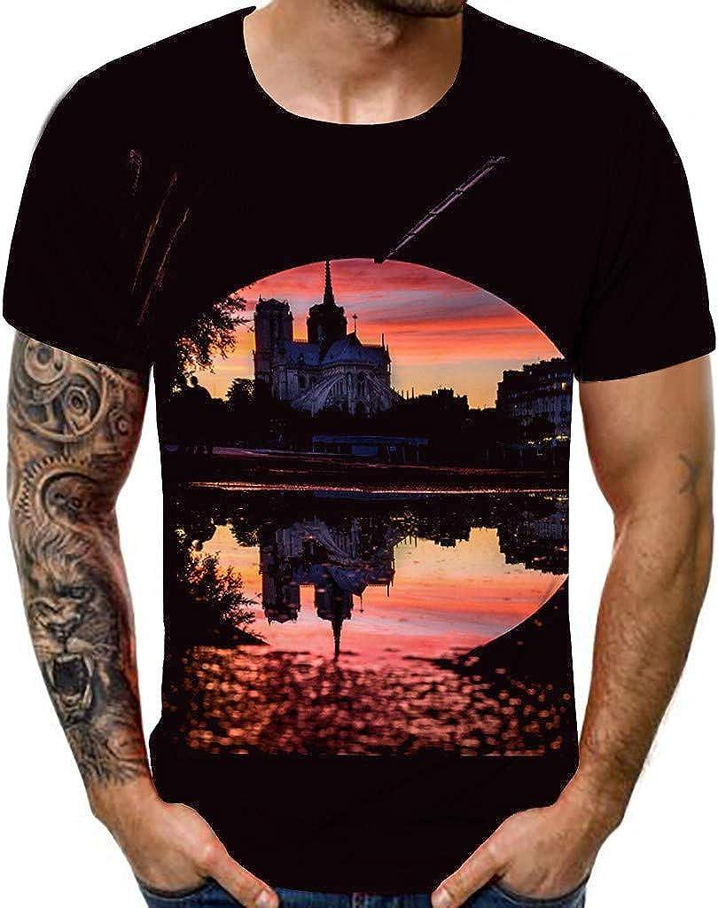 3D Print Beautiful Sunset of Notre Dame de Paris Scenery Unisex Shirt Ultra Cotton Classic Slim Fit T-Shirt for Young
