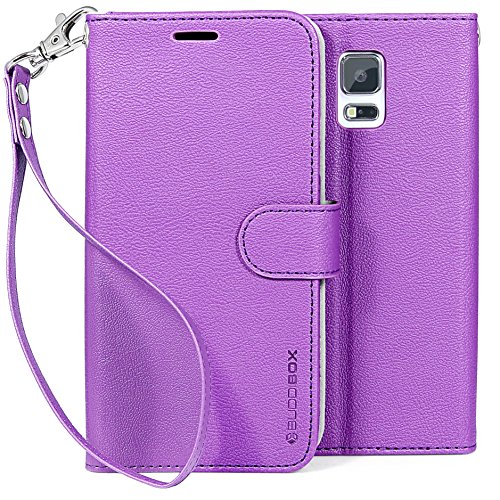 Galaxy S5 Case, BUDDIBOX [Wrist Strap] Premium PU Leather Wallet Case with [Kickstand] Card Holder and ID Slot for Samsung Galaxy S5, (Purple) (Samsung S5 Otter Box Wallet Case)