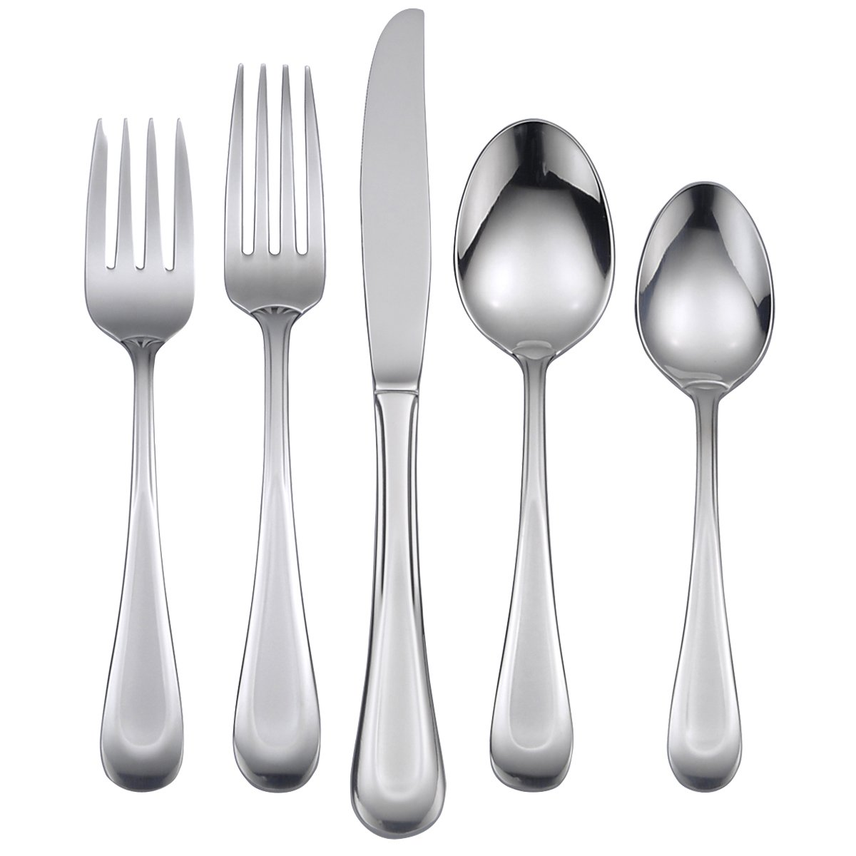Oneida Satin Dune 45 Piece Casual Flatware Set, 18/0 Stainless, Service for 8