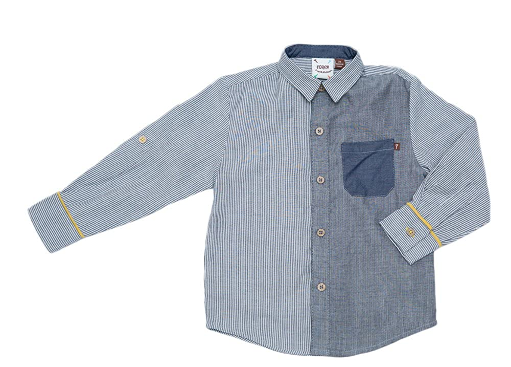 FORE! Little Boys L//S Pattern Block /& Stripe Shirt w//Rolled Cuff