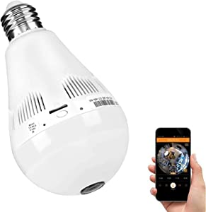 Bulb Camera 360 Degree WiFi 1080P HD Cameras Bulb Smart Security Surveillance Small Camera with IR Motion Detection Night Vision Two-Way Communication 2.4GHz IP Nanny Camera