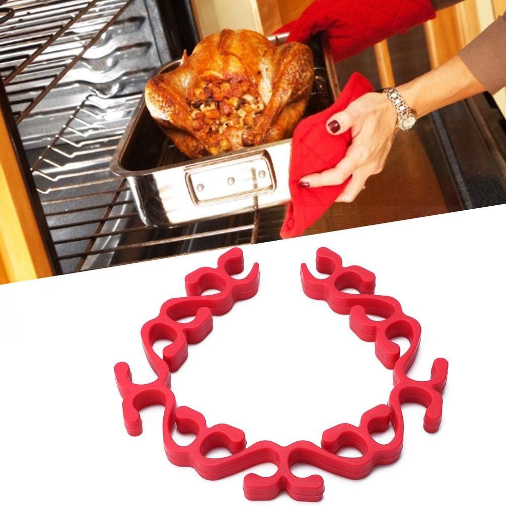 Soporte de bandeja de silicona antiadherente para hornear rojo f/ácil de limpiar rejilla para carne flexible Horno de microondas Soporte para parrilla Rejilla para pavo Herramienta de cocina
