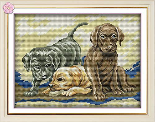 CaptainCrafts New Cross Stitch Kits Patterns Embroidery Kit - Three Puppies (STAMPED)