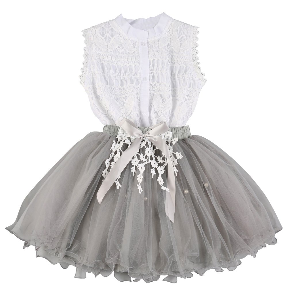 Brightup 2018 Spring Summer Outfits, Kids Girl Sleeveless Lace Shirt + Tulle Tutu Skirt Dress, Blouse with Skirt 2 Pieces Set