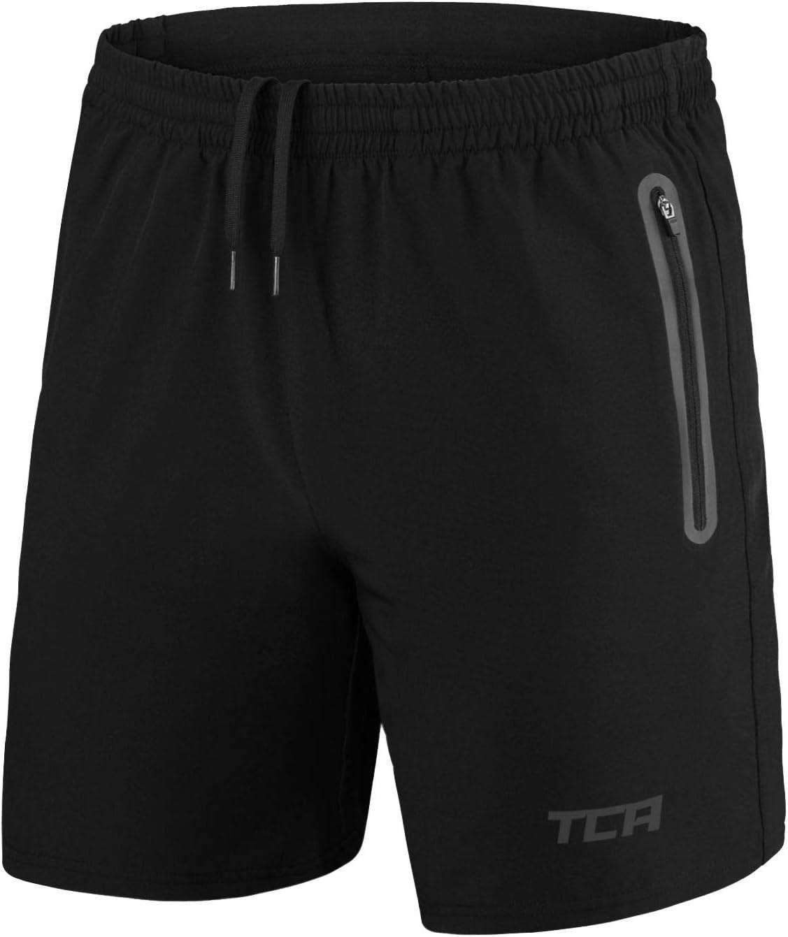 TCA Elite Tech Herren Trainingsshorts f/ür Laufsport mit Rei/ßverschlusstaschen