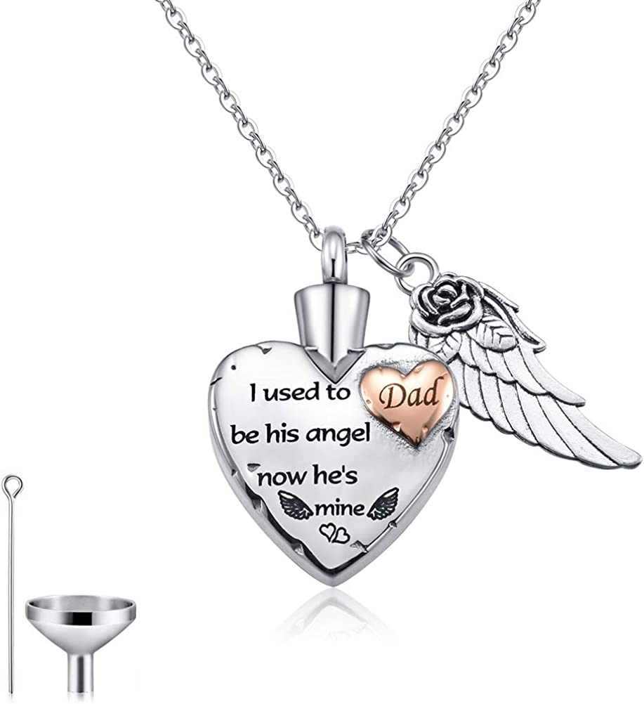 Cat Eye Jewels Memorial Ash Holder Urn Necklace Stainless Steel Heart Angel Wing Cremation Keepsake with Funnel Kit Necklace for Ashes for Men Women