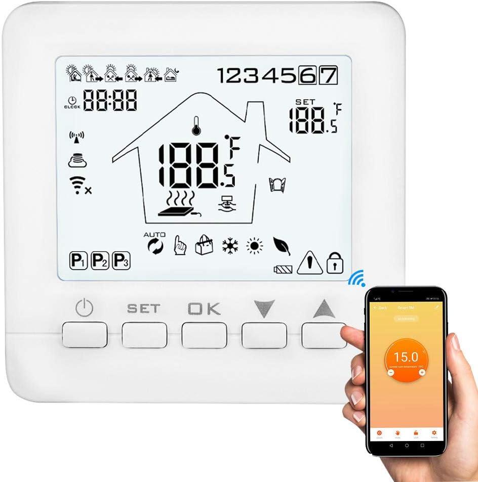 Konesky Wifi Termostato inteligente APLICACIÓN del termostato programable Controlador TUYA para calderas de gas de agua eléctrica Trabajos de calefacción con Alexa Google Inicio