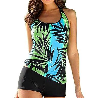 Huihong Tankini Damen Bauchweg Blatt Druck Liegestütze Bikini Set Badeanzug  Beachwear Plus Größe Tops + Shorts, S-5XL  Amazon.de  Bekleidung a586e26101