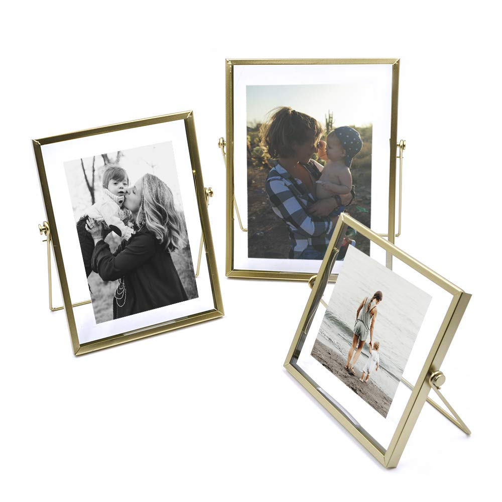 ZONYEO Set of 3 Glass Photo Frame Collection Simple Metal Geometric Picture Frame with Plexiglas Cover Includes 4'''' x 4'''', 4'''' x 6'''', 5'''' x 7''''