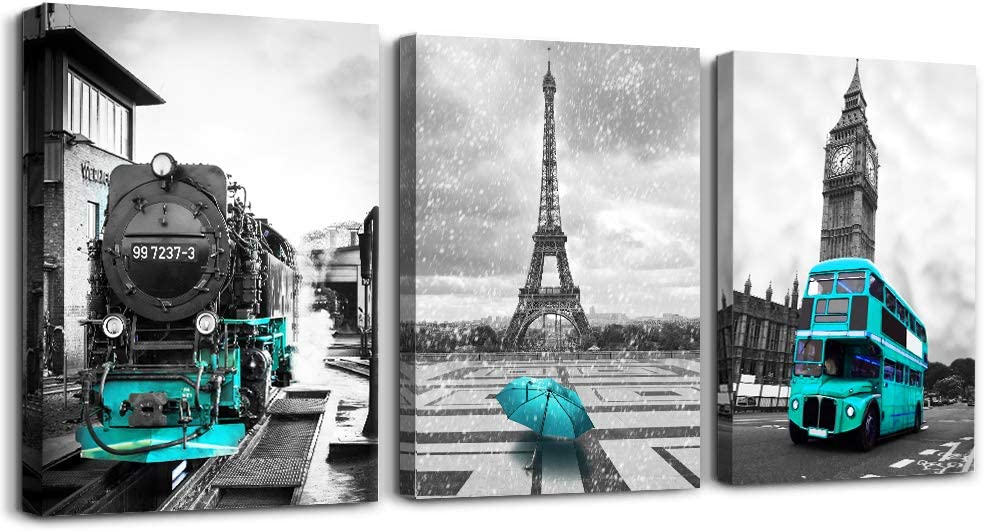 blue car umbrella Eiffel Tower Wall Decor for Bedroom Black and White Canvas Prints Pictures bathroom Canvas Wall Art Painting Giclee Europe Buildings Picture Wall Decoration for Living Room