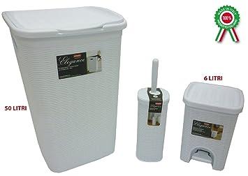 set completo da bagno bianco in plastica portabiancheria pattumiera e scopino