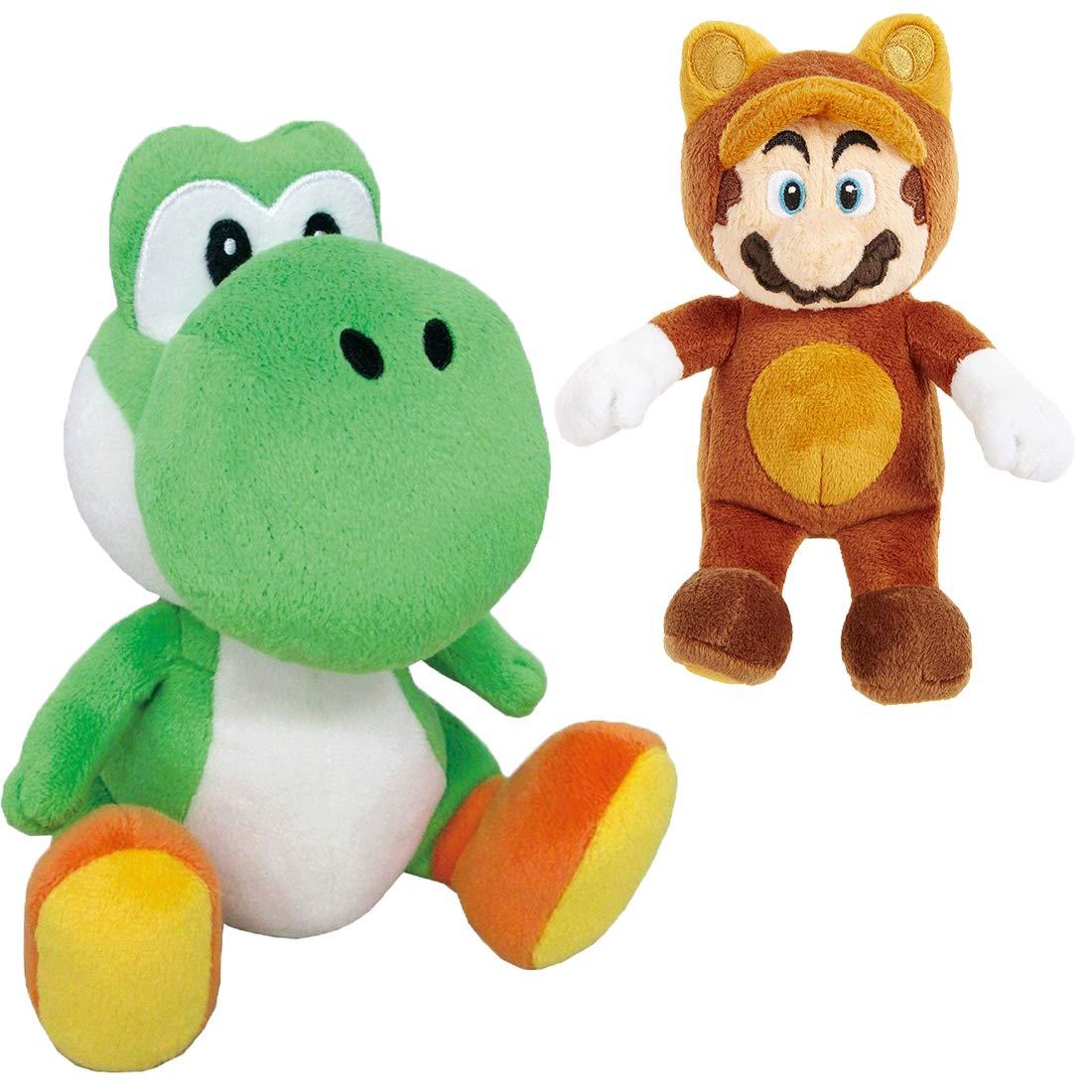 Jumbo Green Yoshi 12'' with Tanooki Mario 8'' Plush Bundle