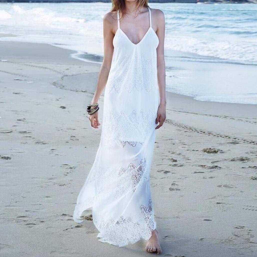 Overdose Vestido De Dama Honor Sin Tirantes del Verano La Playa Las Mujeres Atractivas áNgel Vacaciones Largo Vestidos: Amazon.es: Ropa y accesorios