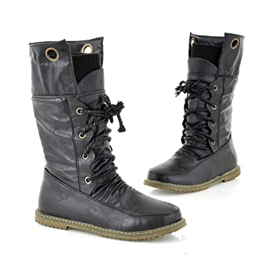 Amazon.com | Susanny Vintage Lace Up Motorcycle Snow Boots for ...