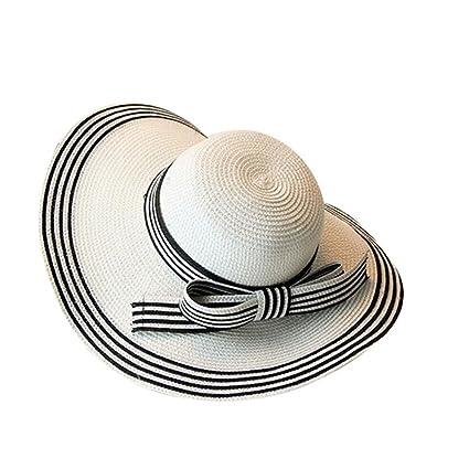 9987c0b44b7c8 LBY Europa Y Los Estados Unidos Elegante Sombrero De Paja A Rayas Blanco Y  Negro Playa