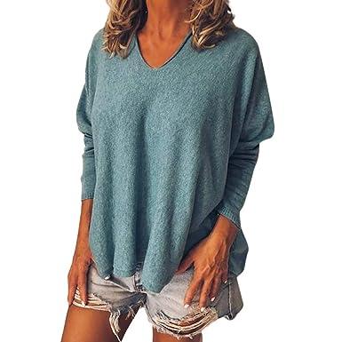 Damen Langarmshirt T-Shirt Loose Tops Bluse Basic Pullover Shirt Jumper Oversize