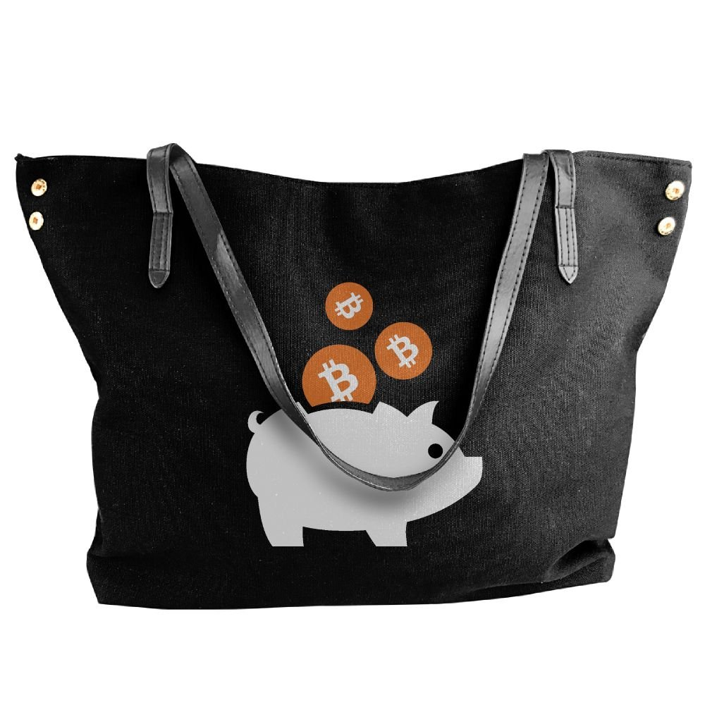 BlackRed Piggy Bitcoin Women's Modern Black Shoulder Bag