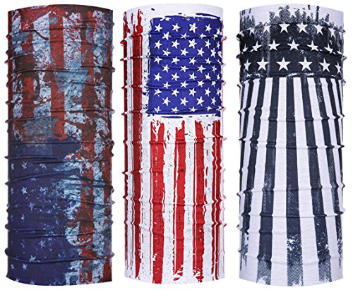 Ussuperstar Patriotic American Flag Printed Bandana Headband Tube Face Mask Neck Warmer 3 Pack for 4TH OF JULY Celebrating,Biking,Camping,Picnic,Outdoor Sports (Flag 4)]()