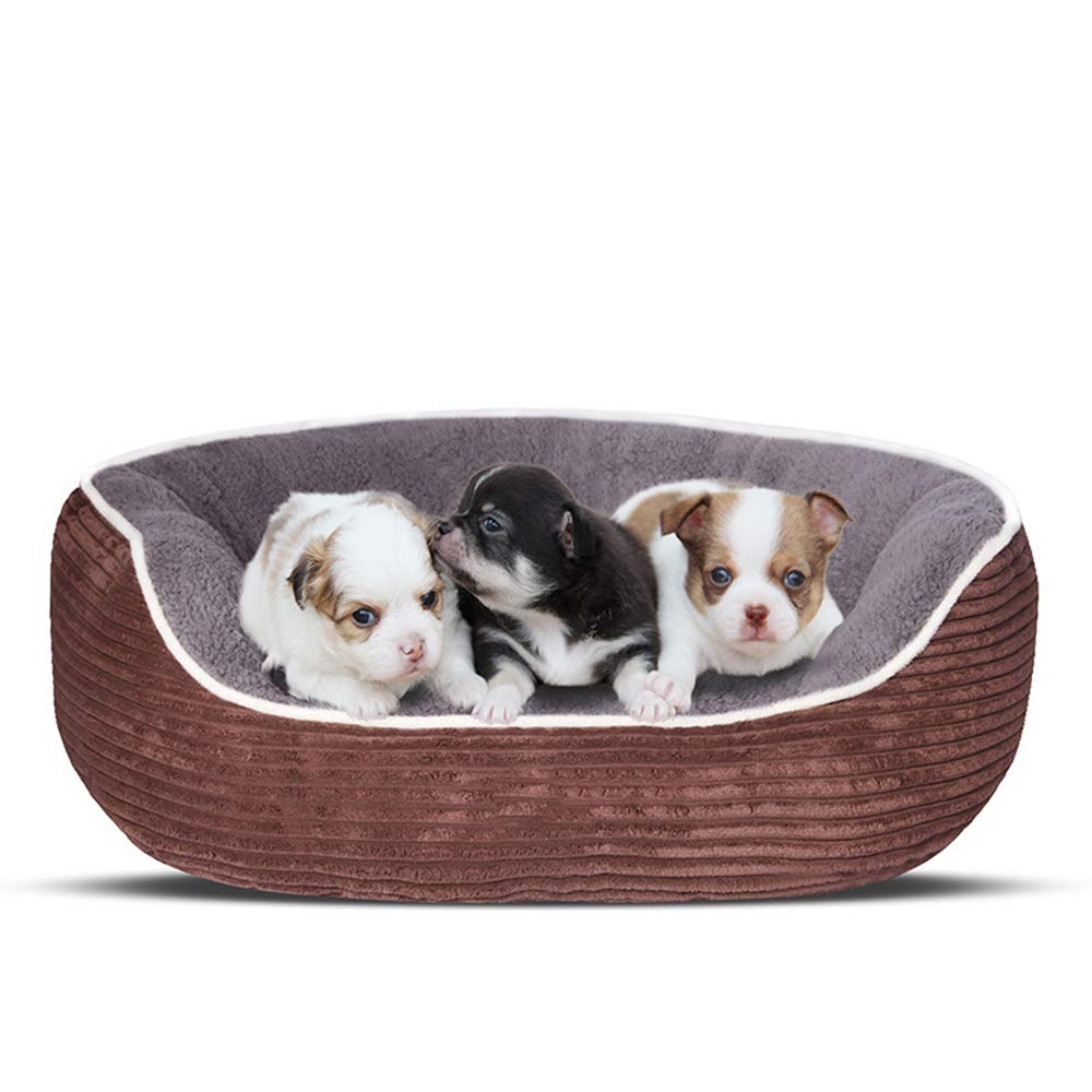 Brown Small Brown Small Pet Bed,Sofa for Dogs Cats,Breathable Corduroy Fabric Warm Kennel for Winter,Brown,S