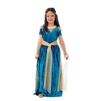 Disfraz de princesa medieval para niños color turquesa y dorado con fajín y diadema: Amazon.es: Juguetes y juegos
