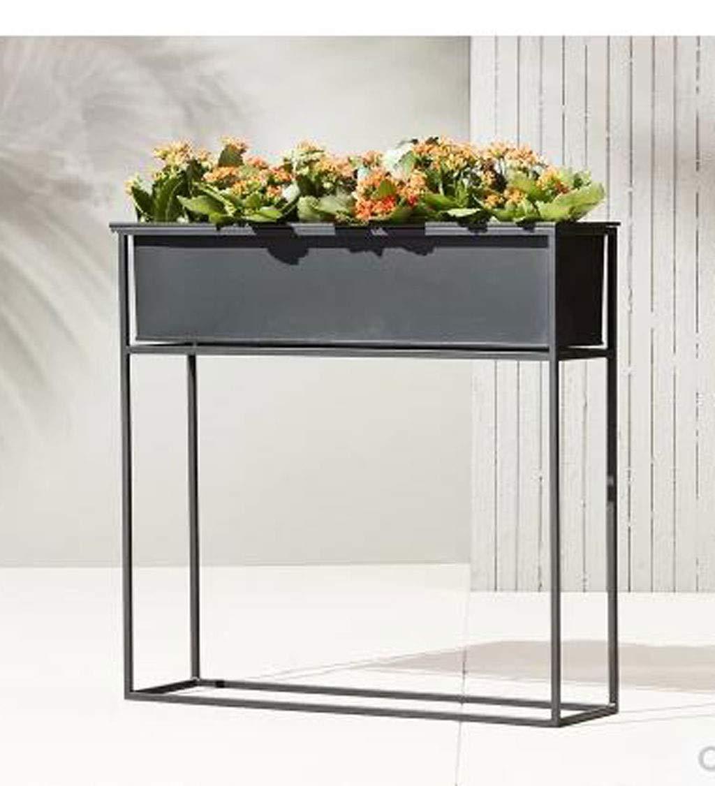 黒錬鉄製のシンプルな花の陳列台、緑の植物の庭のフラワーボックスアートの装飾、テラス、ポーチ、バルコニー、庭に適して (サイズ さいず : 60*20*45) B07RXSR8RS  60*20*45
