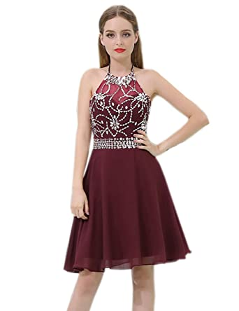 648b9b0ddc Clearbridal Prom Dress Short for Juniors Burgundy Beads Homecoming Party  Gown