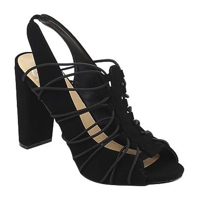 Women's Delicious Branch Elastic Bound Peep Toe Block Heel Sandal w/ Elastic Back Strap