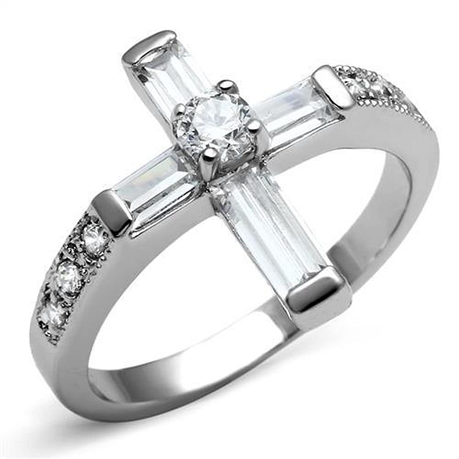1.05ct Baguette & Round CZ Cubic Zirconia Stainless Steel Religious Christian Cross Ring
