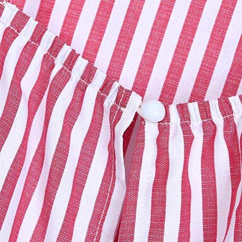 Top Righe Camicia Rosso Sciolto Camicetta Shirts a Gilet BaZhaHei T Arco V Ladies Donna Neck Banda Tops Casual 51TfUavq