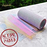 NICROLANDEE Rainbow Glitter Tulle Rolls 6 inch x 10 Yards (30 feet) Special Color for Table Runner Chair Sash Bow Pet Tutu Skirt Sewing Crafting Fabric Wedding Unicorn Party Gift Ribbon (Rainbow)