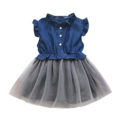 b54b659129 Wanshop Toddler Baby Girls Floral Print Bowknot Short Sleeve Princess Denim  Dress Outfit for 0-7 Years Old  Amazon.co.uk  Clothing