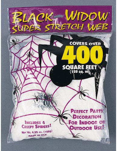 Fun World Super Stretch Spider Web For Indoor/Outdoor Use, 4.22 oz (Spider Web Decorations)