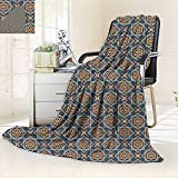vanfan Supersoft Fleece Throw Blanket Daffodils Florets Delicate Features Arabian Style Yard Blooms Corsage Dark Blue Orange,Silky Soft,Anti-Static,2 Ply Thick Blanket. (90''x70'')
