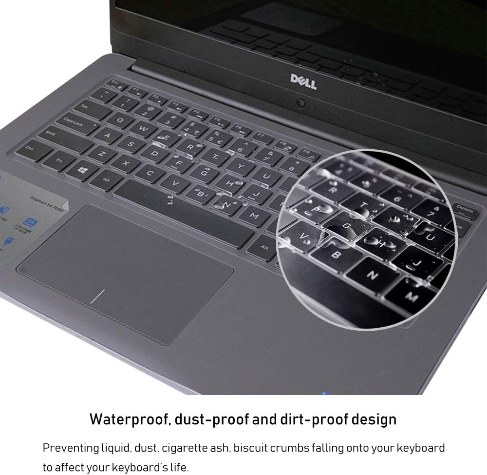 Clear ProElife Clear TPU Keyboard Cover Skin for Dell Inspiron 13 5368 i5368 7368 i7368 Dell Inspiron 14 7000 7447 i7447 Dell Inspiron 14 3000 5000 Series 3442 3446 3447 3451 5442 5447 i5447