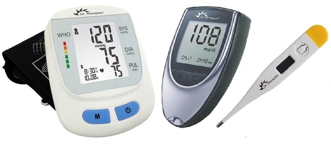 Hi-Tech Health Combo-2 Dr Morepen BP.09 + BG03 Glucometer with 50 free tests + Dr. Morepen Digital Thermometer.