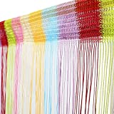 Topixdeals 37 X 76 Inch Rare Flat Silver Ribbon Door String Curtain Thread Fringe Window Panel Room Divider Cute Strip Tassel Party Events (Colorful)