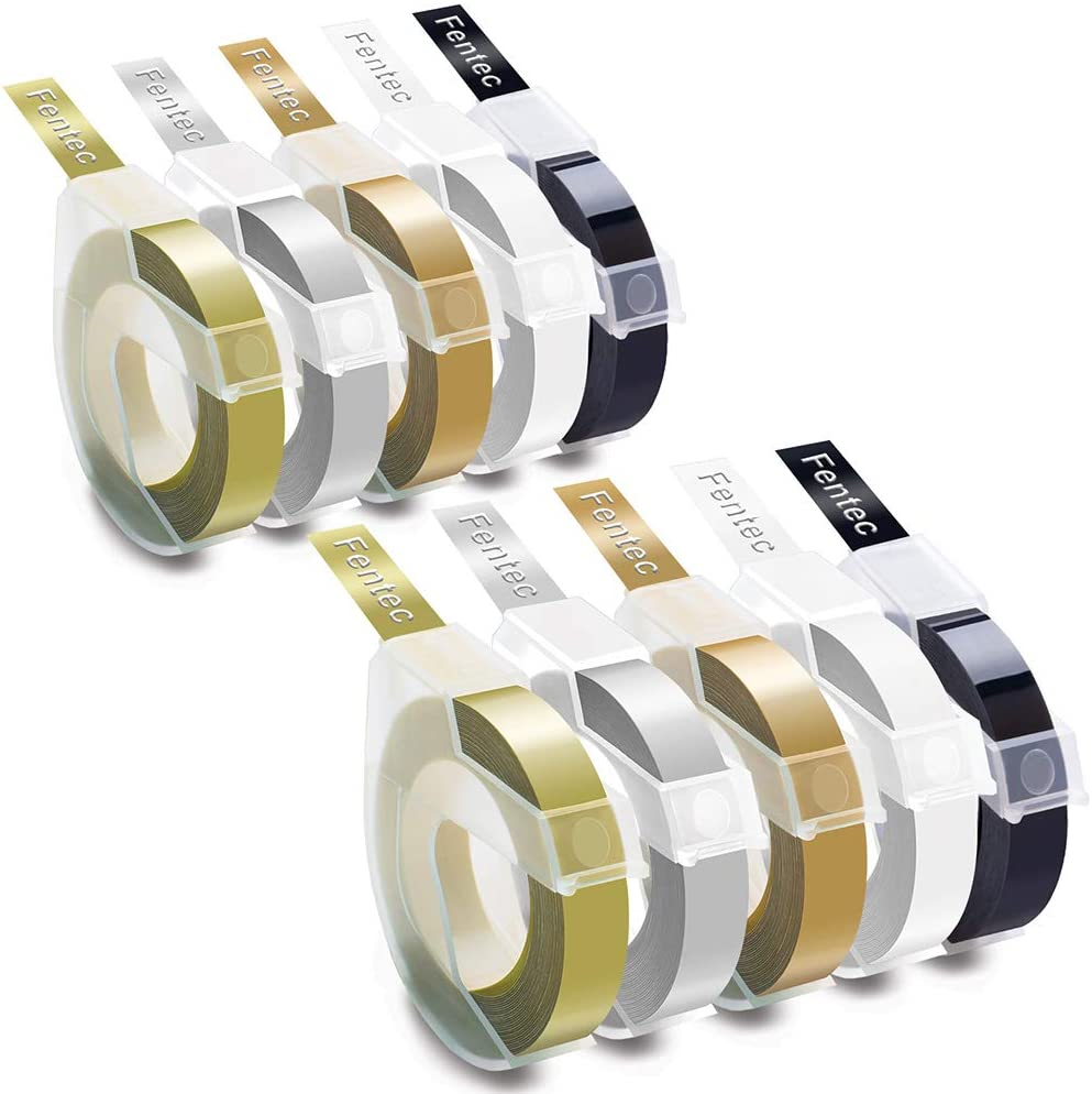Fentec Compatible Colorful Embossing Tape Replacement for DYMO 3D Plastic Embossing Label Tape 3/8 in Self-Adhesive for DYMO Label Printer Organizer Xpress Pro 12966 Office-Mate II 1540,10 Pack