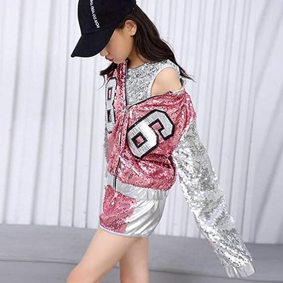 52daec3d11386 Gtagain Ropa Danza Niña Vestidos - Niños Adulto Jazz Hip Hop Moderno Disfraces  Lentejuelas Trajes Show Conjuntos Chaleco + Pantalones Cortos Abrigo (Ropa  ...