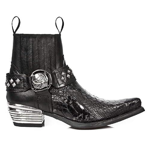 New Rock M.7995PT-S4 Botas Botines Hombre Caballero Negro Cuero Piel Serpiente Natural Tacón Cowboy Oeste Vaquero Western Urbano: Amazon.es: Zapatos y ...