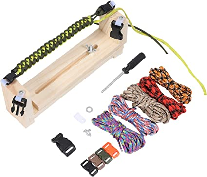 1 Set Jig Bracelet Maker with Parachute Cord,Wristband Maker,Paracord Braiding and Weaving DIY Craft Tool Kit,Wooden Frame Jig.Wristband Paracord Braiding Weaving DIY Tool Kit for Kids