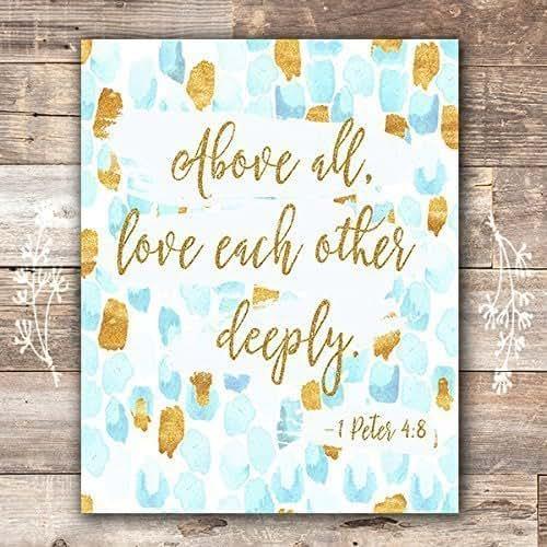Bible Verse Wall Art Print | 1 Peter 4:8 - Unframed - 8x10