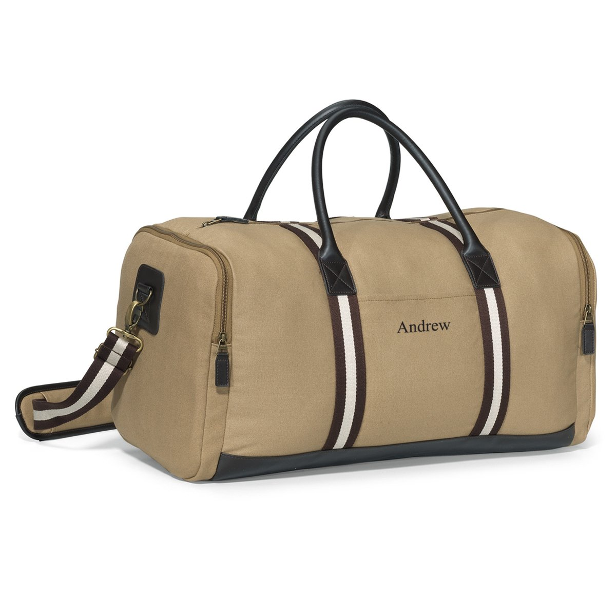 Personalized Khaki Canvas Duffle Bag - Personalized Canvas Gym Duffel
