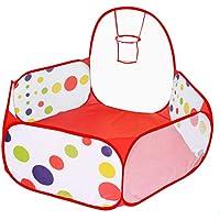 Jasonwell Interiores Casas Jardin niños Casas para niños con aro de Baloncesto y Bolsa de Almacenamiento con Cremallera para los niños 4 Ft / 120CM (Bolas no está Incluidas)