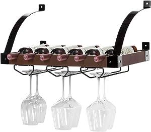 Home Zone Kitchen Wall Mounted Wine Rack with Stemware Organizers, Holds up to 6 Bottles (Dark Walnut)