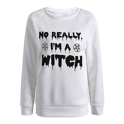 ... de Halloween para Mujer del Suéter de Manga Larga con Estampado de Letras de Halloween diseño único Casual Camisetas de Mujer Blusa: Amazon.es: Ropa ...